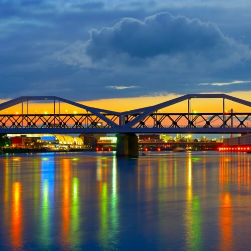 Bridge with Rainbow Lights Shining Through
