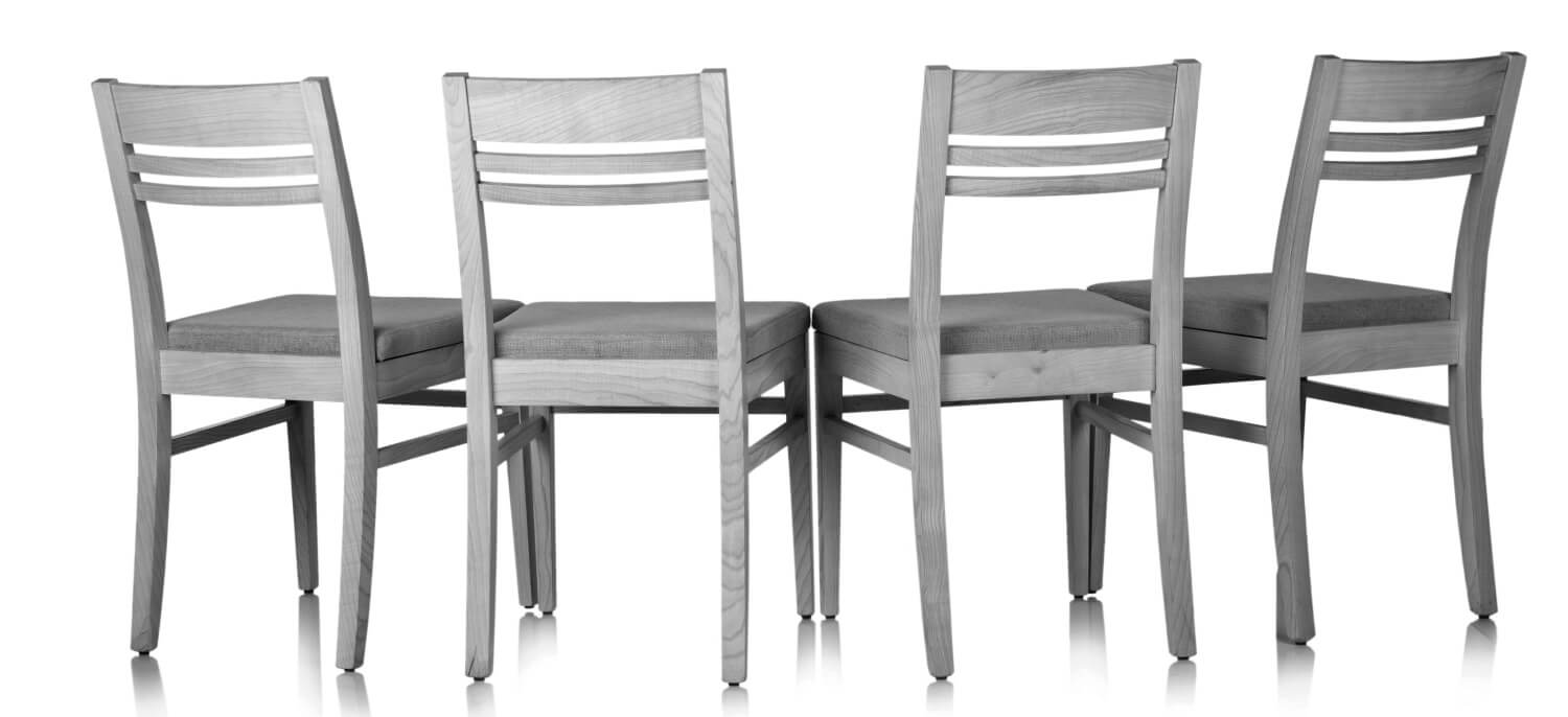 Chairs in a circle on a white background
