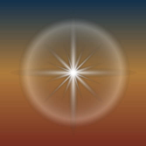 Star in Circle on Sunset Background