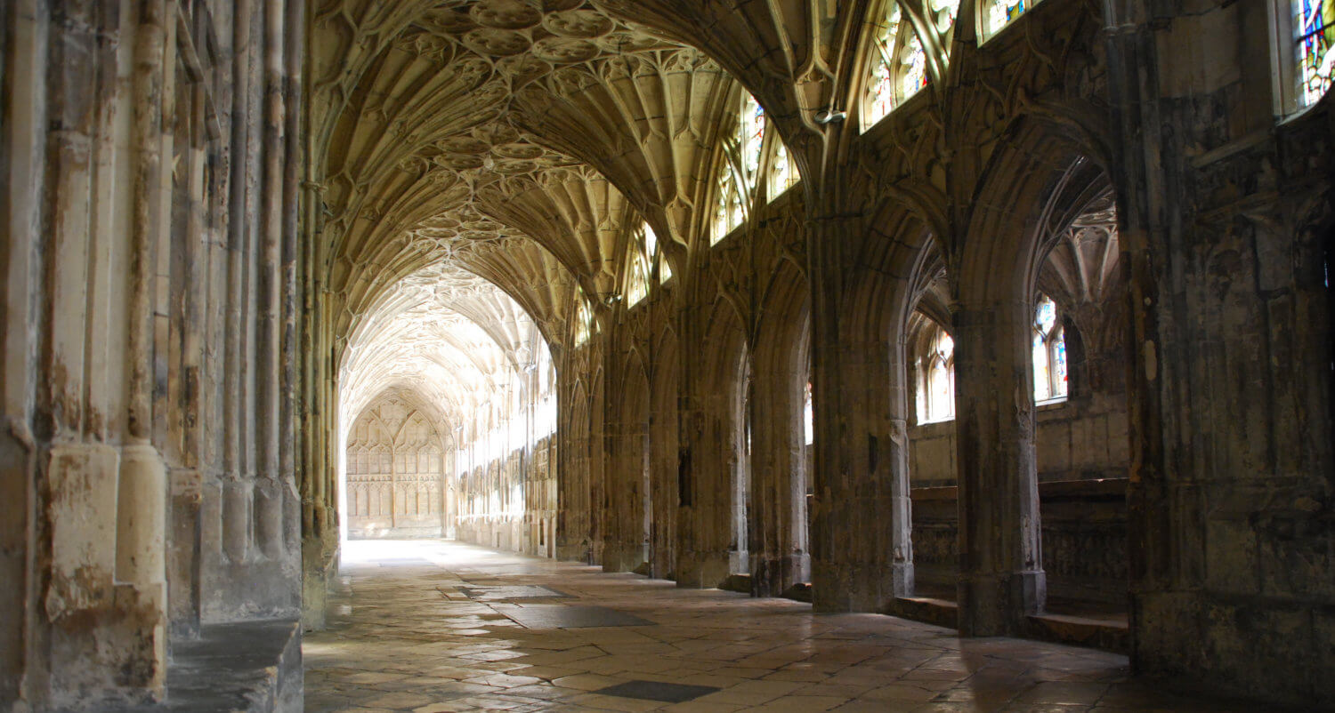 Cloister in Gloucester Cathedral, England