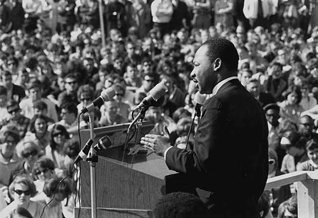 Martin Luther King, Jr. speaking at the St. Paul Campus of the University of Minnesota
