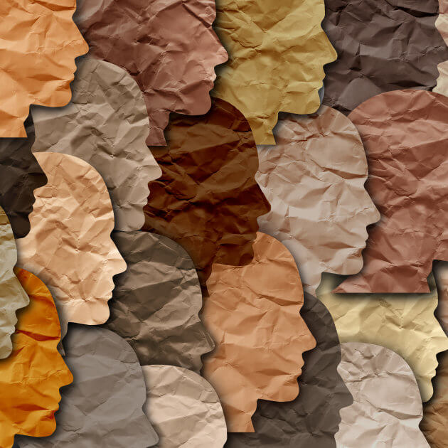 A collage of faces of all shades of brown or beige