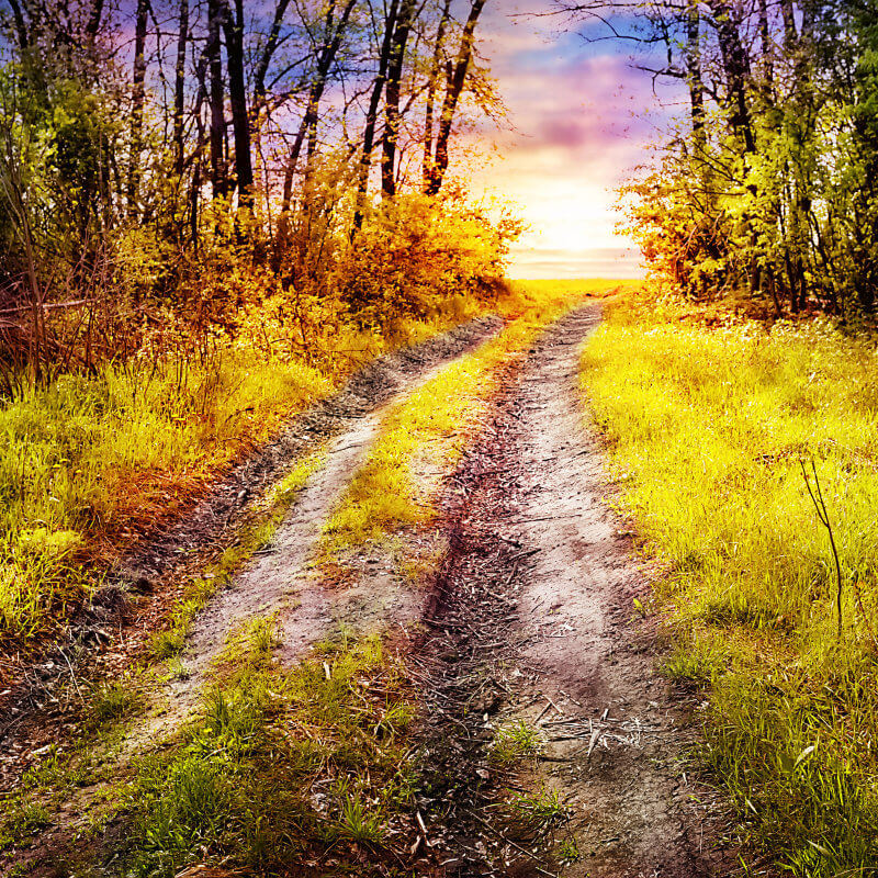 Dirt Road leading to a colorful horizon