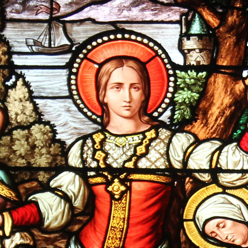 Saint Mary Magdalene, detail from a work of stained glass installed in Saint Severin in Paris, France