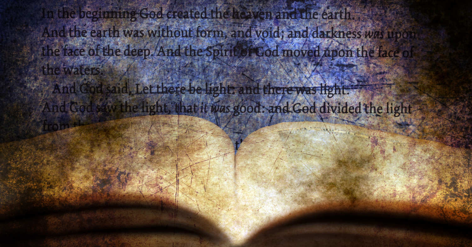 An abstract beige and blue image of an open book with a Bible passage from one of the books in the Bible shown above