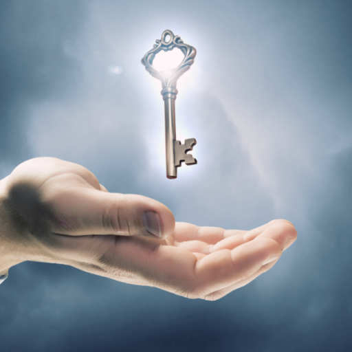 Illustration of a hand with a backlit key hovering right over it