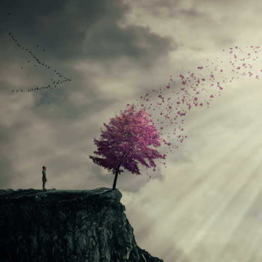An illustration of a cliff, a person standing on it, a purple tree whose leaves are flowing toward the sun bursting through clouds