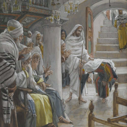 """Detail from the painting """"Christ healing an infirm woman on the Sabbath,"""" by James Tissot illustrating what it might have looked like when Jesus healed someone"""