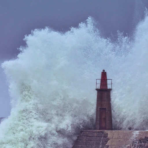 A giant wave crashing into a large bouy or small lighthouse, a stormy sky provides the backdrop